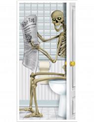 Decoración para puerta esqueleto en el baño