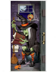 Decoración de puerta bruja en el baño Halloween