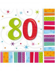 16 Servilletas papel 80 años 33x33 cm