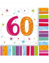 16 Servilletas papel 60 años 33x33 cm