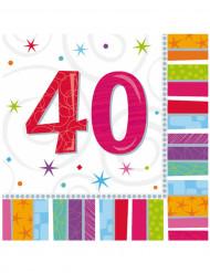 16 Servilletas papel 40 años 33x33 cm