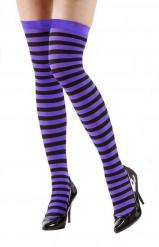 Medias a rayas negro y violeta adulto