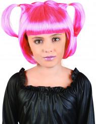 Peluca manga rosa niña