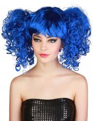 Peluca azul con coletas mujer