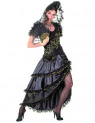 Disfraz de flamenca negro y dorado