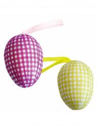 6 Huevos decorativos rosas y amarillos Pascua