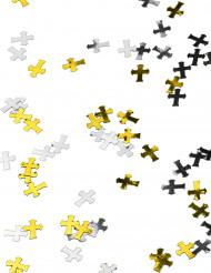 Confetis cruces plateadas y doradas