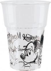 8 Vasos plástico Mickey Mouse™ blanco y negro