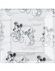 8 Platos cuadrados plástico Mickey Mouse™ blanco y negro