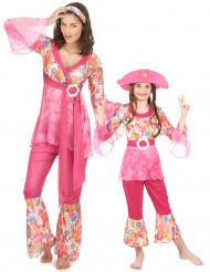 Disfraz de pareja Hippie rosa