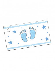 10 Etiquetas papel pie azul Bautizo niño