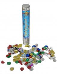 Cañón de confetis 24 cm con confetis redondos metalizados