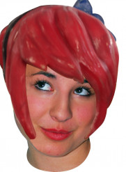 Peluca de látex manga rojo adulto