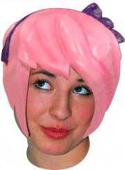 Peluca látex manga rosa adulto