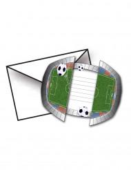 8 Invitaciones con sobres de estadio de fútbol 15 x 10 cm