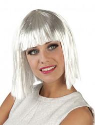 Peluca corta blanca mujer