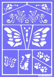 Plantilla de maquillaje reutilizable Gato y Mariposa