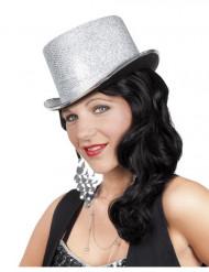 Sombrero de copa plateado