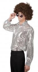 Camisa disco plateada hombre