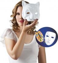 Máscara gato blanco para pintar adulto