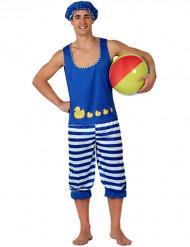 Disfraz de bañista azul hombre