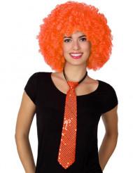 Corbata con lentejuelas naranja adulto