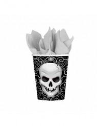 8 vasos cartón calavera Halloween