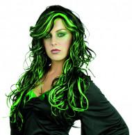 Peluca negra y verde mujer