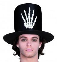 Sombrero de copa mano de esqueleto hombre