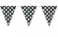 Guirnalda banderines negros puntos blancos