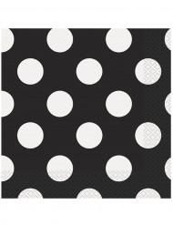 16 Servilletas papel negras puntos blancos 33x33 cm