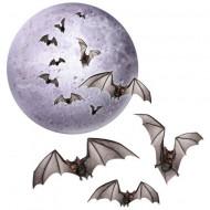 Decoración luna y murciélago 21 x 45 cm