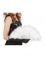 Abanico blanco de plumas