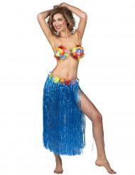 Falda hawaiana azul adulto