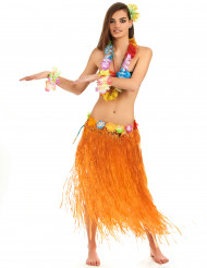 Falda hawaiana naranja adulto