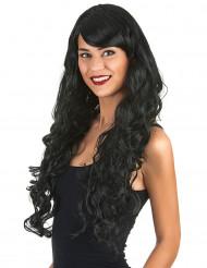 Peluca glamour larga negra con rizos mujer