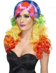 Peluca rizada multicolor mujer