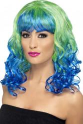Peluca rizada azul y verde mujer