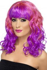 Peluca rosa y violeta rizada
