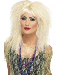 Peluca rubia rizado mujer