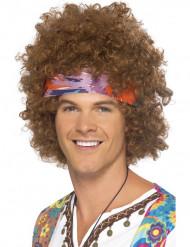 Peluca afro hippie marrón hombre