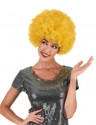Peluca afro / disco amarillo confort adulto