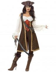Disfraz pirata de los océanos marrón mujer