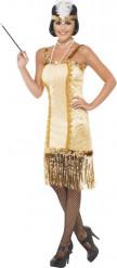 Disfraz charlestón dorado mujer