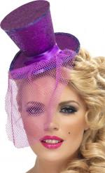 Mini sombrero copa violeta mujer