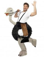 Disfraz hombre sobre una avestruz