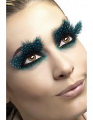 Pestañas falsas plumas negras puntos azules adulto