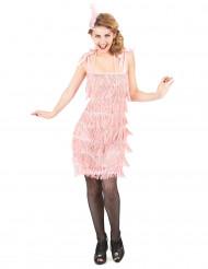 Disfraz años 20 rosa claro mujer