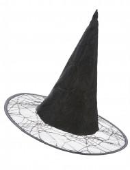 Sombrero de bruja negro telaraña adulto Halloween