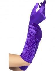 Guantes largos violetas mujer